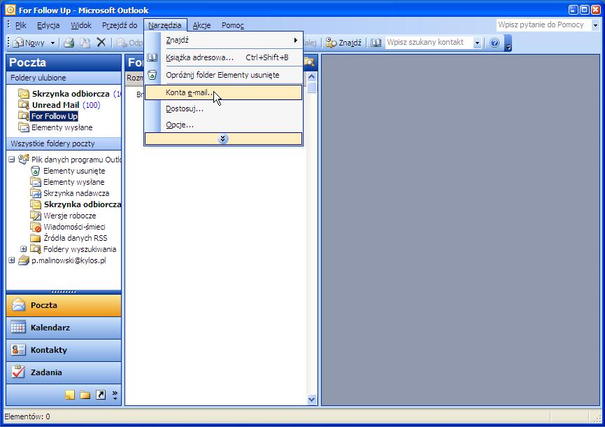 40f42bf5e9238c Konfiguracja Microsoft Outlook 2003 - Baza wiedzy - Kylos.pl