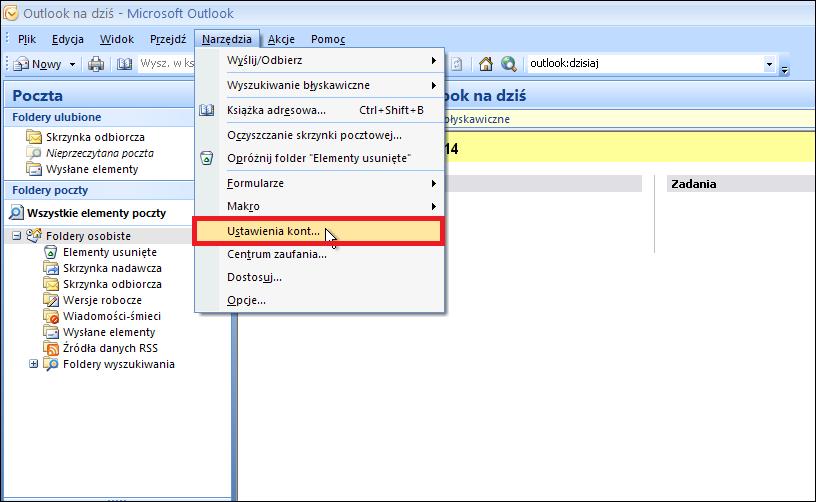 ae2f4a2a9a50f7 W programie MS Outlook 2007 w celu konfiguracji nowego konta e-mail  wybieramy z menu